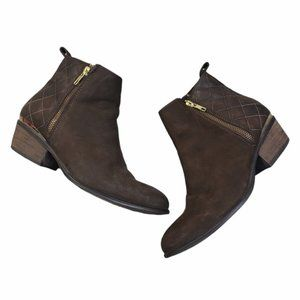 STEVE MADDEN Brown/Gold Leather Quilted Booties